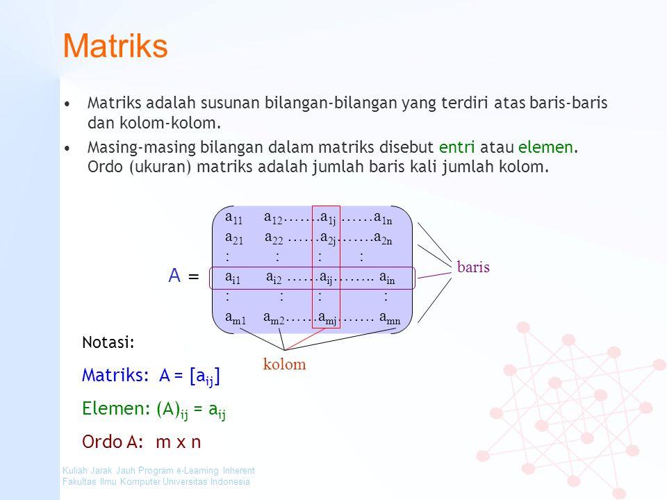 Matriks A = Matriks: A = [aij] Elemen: (A)ij = aij Ordo A: m x n